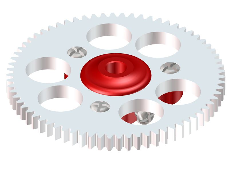 LX0754 - NANO CPX/S - Ultra Main Gear Hub - Main Gear 70T - Set - Red