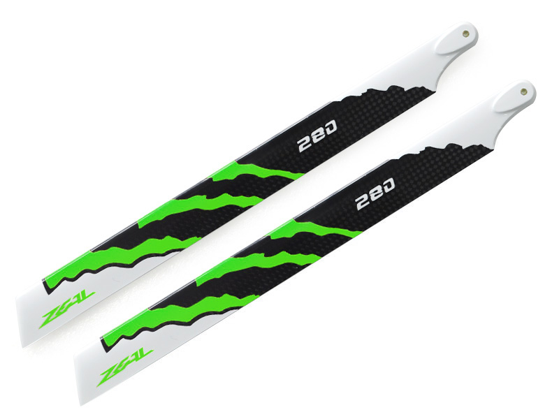 ZHM-NRG280G ZEAL Energy Carbon Fiber Main Blades 280mm (Neon Green)