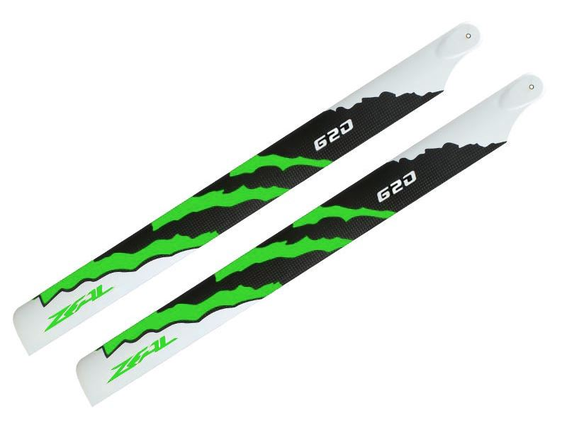 ZHM-NRG620G - ZEAL Energy Carbon Fiber Main Blades 620mm (Green)