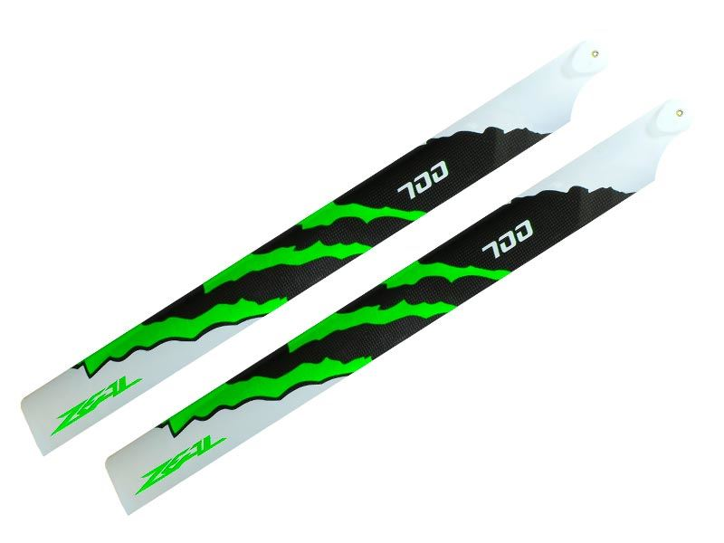 ZHM-NRG700G - ZEAL Energy Carbon Fiber Main Blades 700mm (Green)