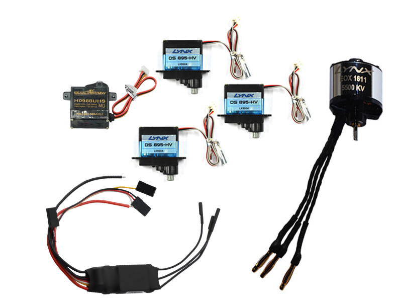 ECOXY2-003 3pc Cyclic Servo DS-895, tail servo H0988UHS, 1611-5500KV Motor and ESC HW 25A-V4 Combo