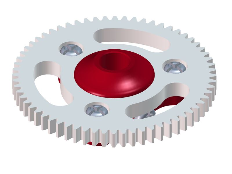 LX0646 - MCPX BL - Ultra Main Gear Hub - Main Gear 64T - Set - Red Devil Edition