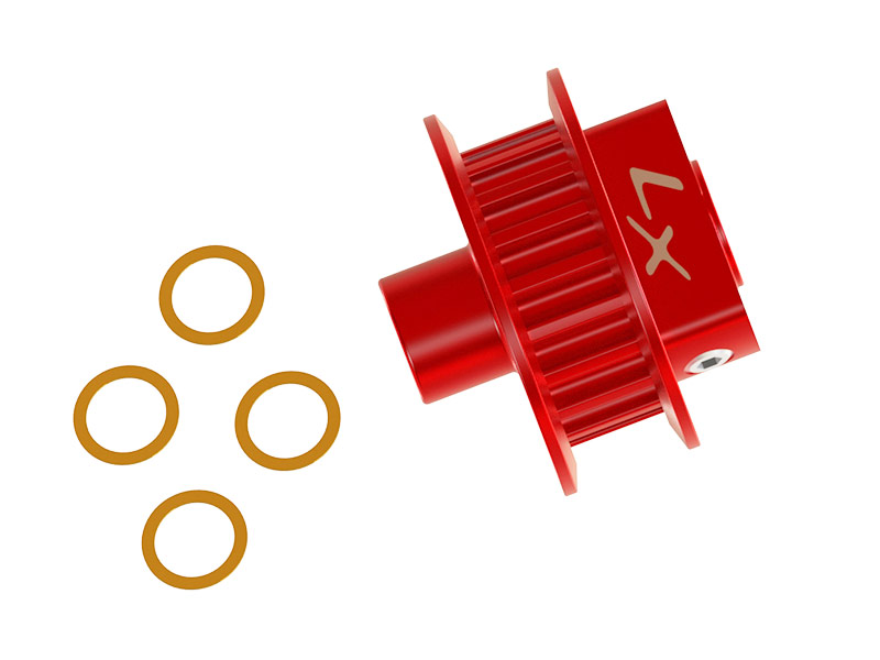 LX2527-7 - FireBall 280 - Tail Pulley 19T (STD), Red