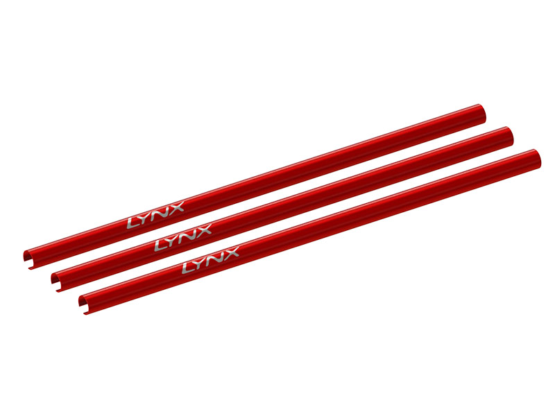 LX2557-7 130S - CNC Aluminum Tail Boom, 3 pcs - Red