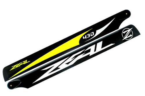 ZHM-430Y-B -ZEAL Carbon Fiber Main Blades 430mm (Yellow)- B class
