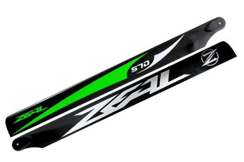 ZHM-570G-B ZEAL Carbon Fiber Main Blades 570mm (Green)- B Class