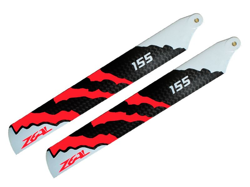 ZHM-NRG155C-B ZEAL Carbon Fiber main blades 155mm Energy (Neon Orange)- B Class