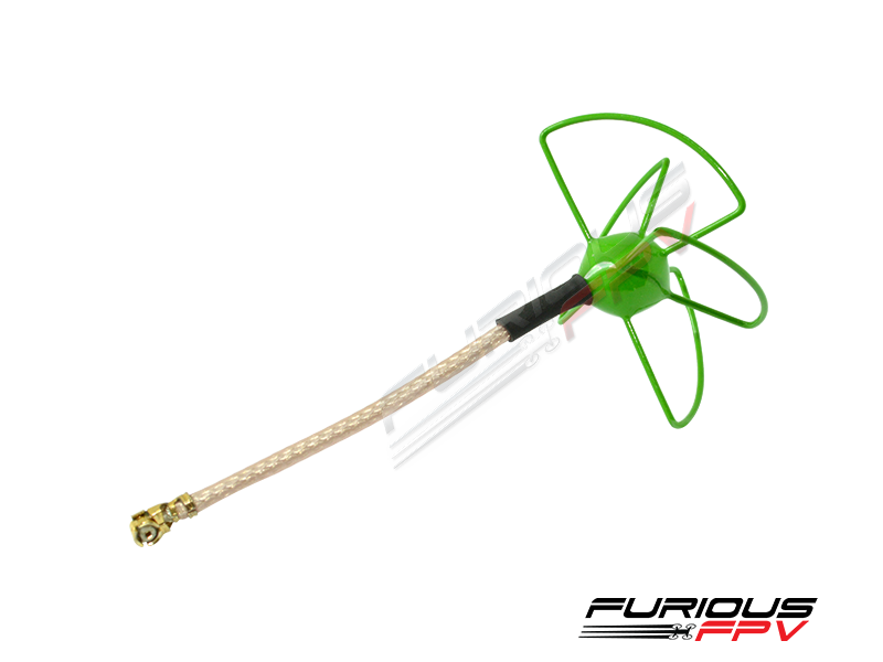 <p><em>Furious FPV Micro U.FL Antenna - Ultra Small, Ultra Clear.</em><br /><br />Compact and designed for VTx units like the Furious FPV Innova, Furious has developed the perfect solution for FPV excellence in an ultra light weight layout that simply performs.<br /><br />Specifically targeted for Micro FPV quad copters that require an antenna that is incredibly small, Furious FPV provides everything you need when it comes to dialing in video quality perfection in compact form.<br /><br />Utilizing popular RHCP polarization, the Furious Micro Antenna is low in cost, light in weight and provides the video clarity we all desire - all while looking good doing so! Tally in the 1.7dBi broad beam reception capability, and this antenna is a perfect solution for all things micro.<br /><br /><em>Features:</em><br /><br />- Ultra Light Weight<br />- Compact Form for Micro Quad Application<br />- Direct Fit for the Furious FPV Innova VTx<br />- Popular RHCP Polarization&nbsp;- Optimized 1.7dBi Gain<br />- Epoxy painted in Green to prevent rusting&nbsp;<br /><br /><em>Specifications:</em><br /><br />- 1.7dBi Beam Pattern<br />- 5.8GHz Frequency<br />- RHCP - Right Hand Circular Polarized<br />- U.FL Connector</p>